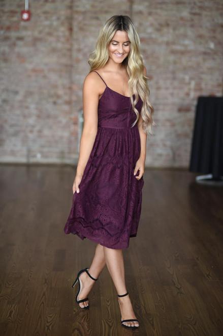 BB Dakota: Galena Lace Dress - Mulberry