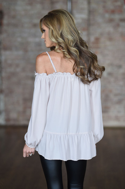 Cold Shoulder Ruffle Detail Blouse - Taupe - FINAL SALE