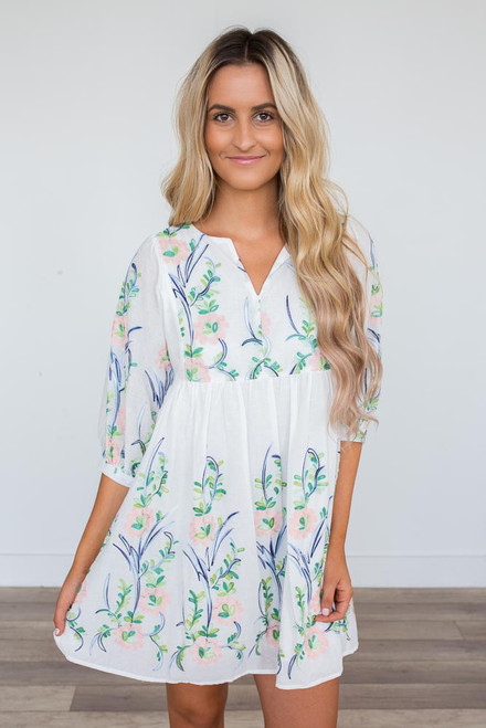 Floral Embroidered Dress - White Multi - FINAL SALE