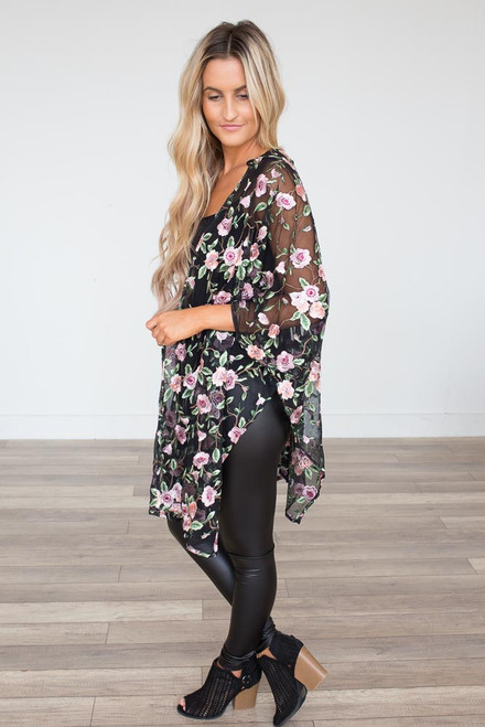 Secret Garden Kimono - Black Multi - FINAL SALE