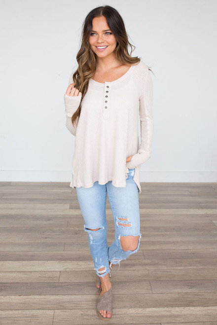 Button Front Waffle Knit Top - Cream - FINAL SALE