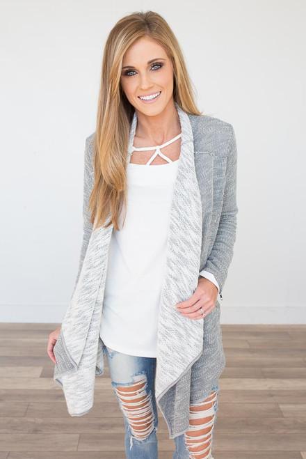 Zipper Detail Cardigan - Heather Grey - FINAL SALE