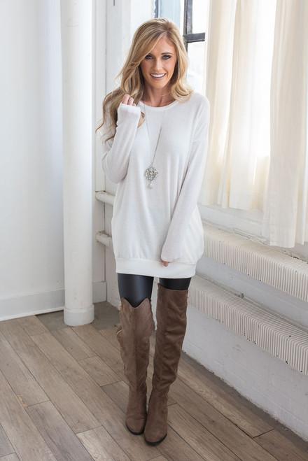 Cozy Knit Pocket Tunic - White