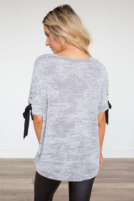 Tie Sleeve Burnout Top - Grey - FINAL SALE