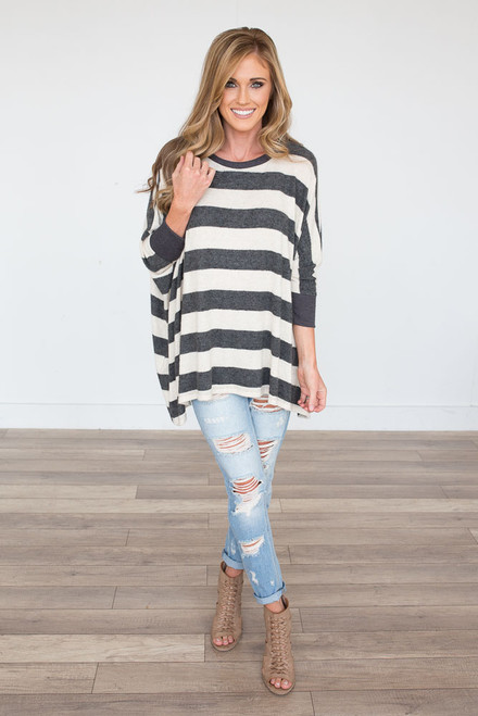 Striped Dolman Sleeve Tunic - Grey/Oatmeal - FINAL SALE
