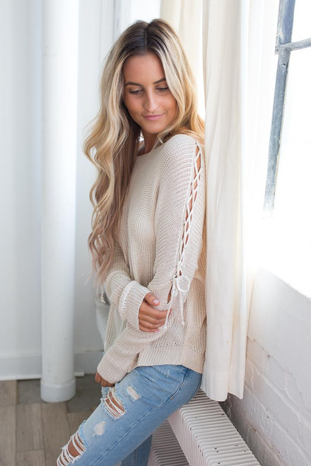 Lace Up Sleeve Sweater - Cream - FINAL SALE