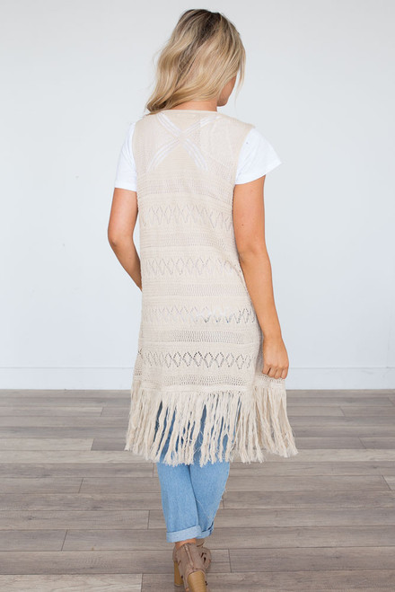 Crochet Fringe Cardigan - Natural - FINAL SALE