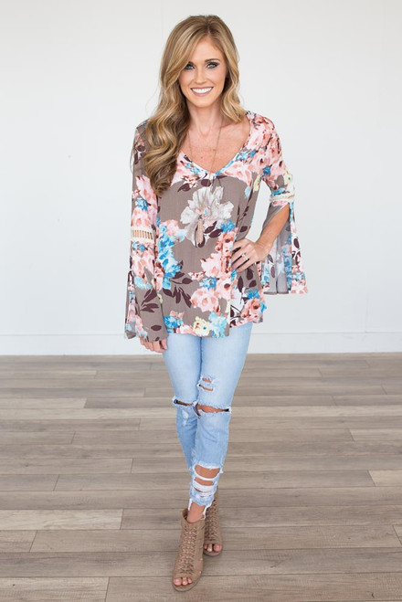 Bell Sleeve Floral Blouse - Mocha Multi - FINAL SALE