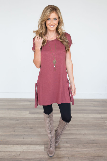 Short Sleeve Side Tie Tunic - Vintage Red - FINAL SALE