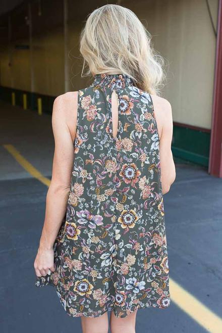 Mock Neck Floral Print Dress - Olive  - FINAL SALE