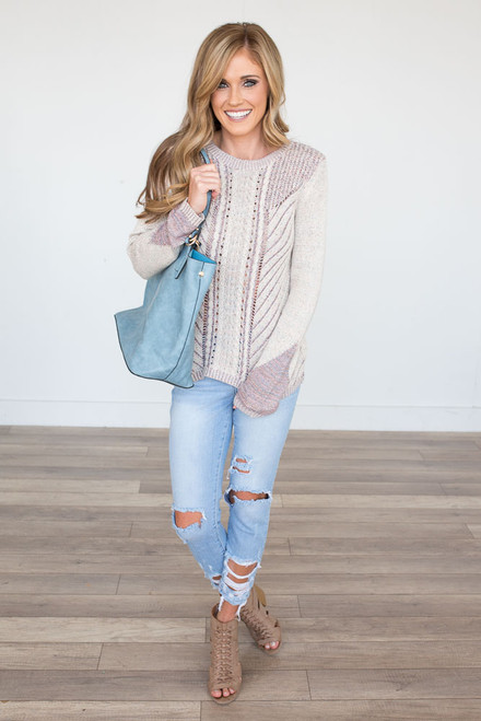 Cable Knit Textured Sweater - Beige Multi - FINAL SALE