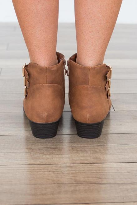 Faux Nubuck Buckle Booties - Brown - FINAL SALE