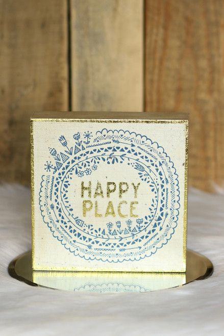 """Happy Place"" Box Sign - Gold Multi - FINAL SALE"