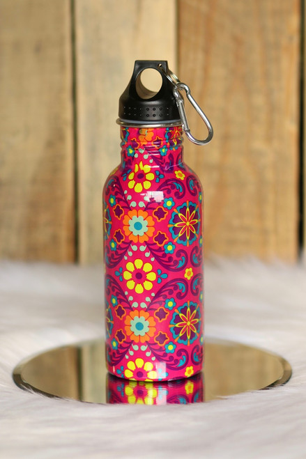 Floral Print Water Bottle - Pink Multi - FINAL SALE