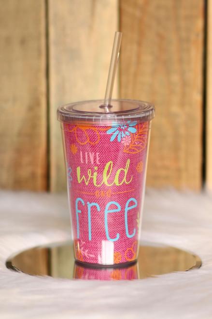 Wild & Free Tumbler - Pink - FINAL SALE