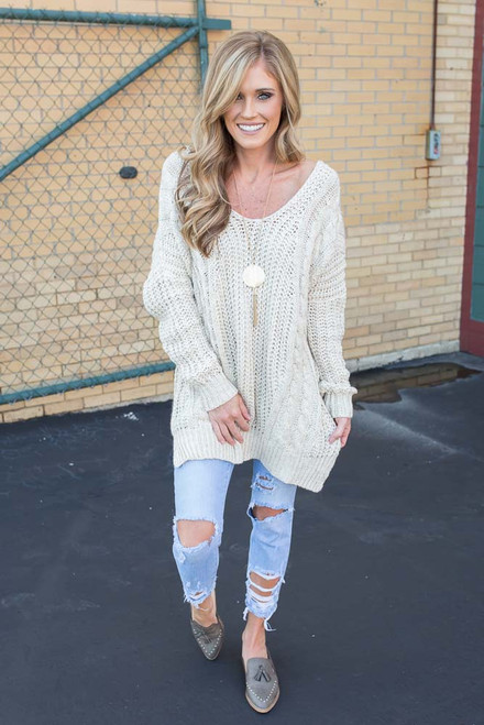 Cross Back Cable Knit Sweater - Natural - FINAL SALE