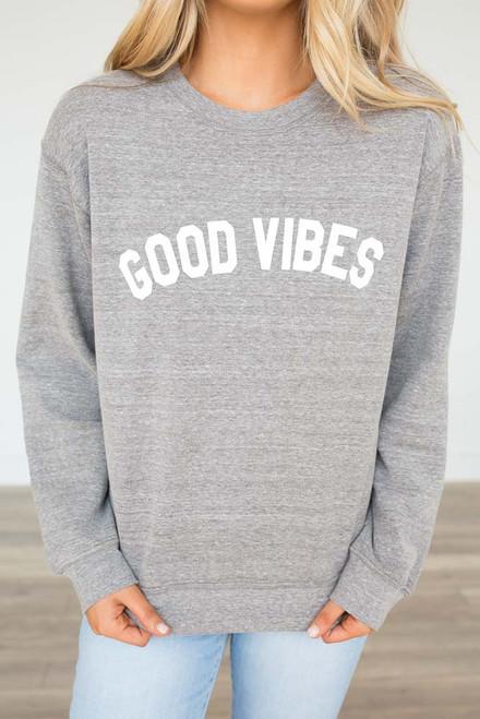 Good Vibes Sweatshirt - Heather Grey - FINAL SALE
