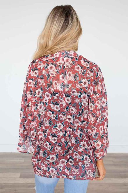 Floral Print Drawstring Kimono - Scarlet  - FINAL SALE