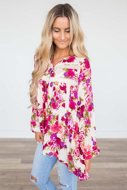 Rose Print Crochet Blouse - Pink Multi  - FINAL SALE