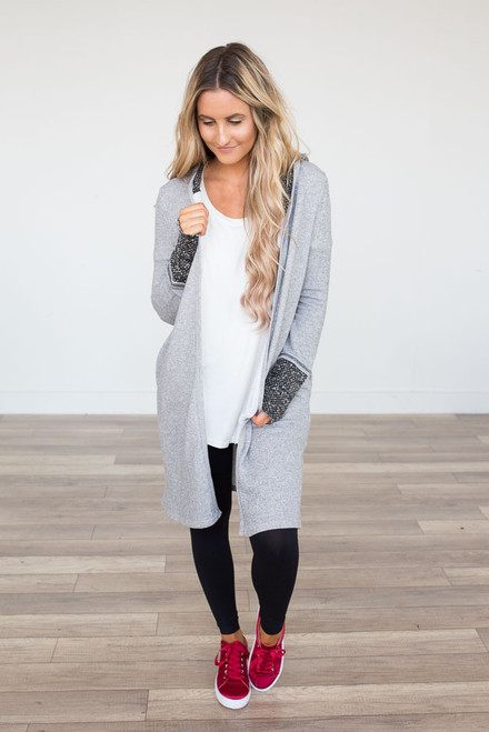 Contrast French Terry Long Cardigan - Grey - FINAL SALE