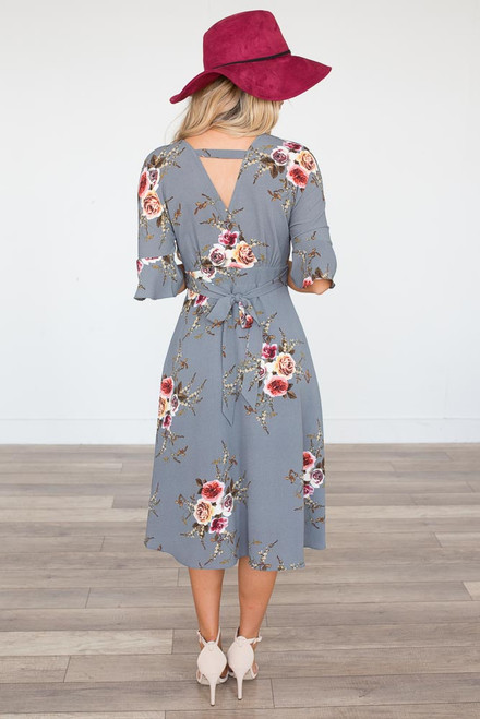 Rose Printed V-Neck Dress - Grey - FINAL SALE
