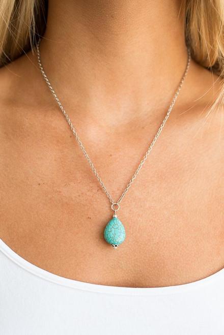 Stone Pendant Necklace - Turquoise - FINAL SALE