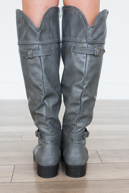 Distressed Buckle Riding Boots - Grey - FINAL SALE