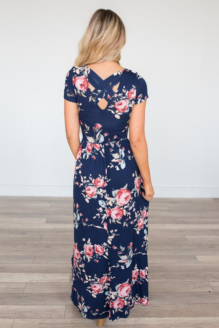 Floral Print Cross Back Maxi - Navy -  FINAL SALE