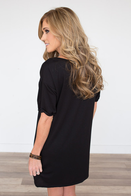 Cuffed Short Sleeve Shift Dress - Black -FINAL SALE
