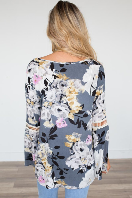 Bell Sleeve Floral Blouse - Grey Multi - FINAL SALE