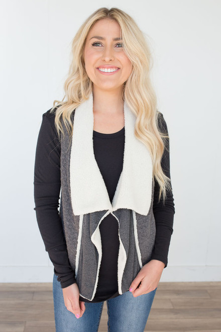 Faux Fur Quilted Vest - Charcoal - FINAL SALE