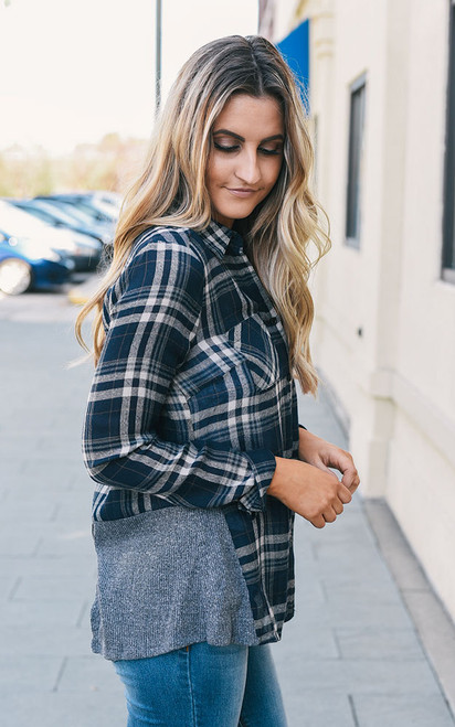 Ribbed Detail Plaid Top - Navy - FINAL SALE