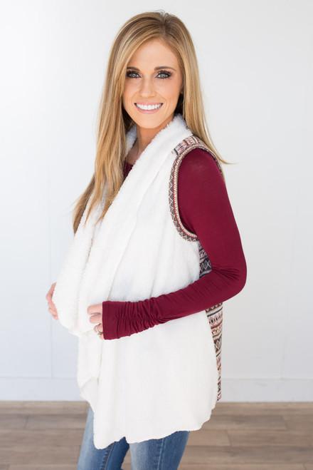 Faux Fur Printed Vest - Ivory Multi - FINAL SALE