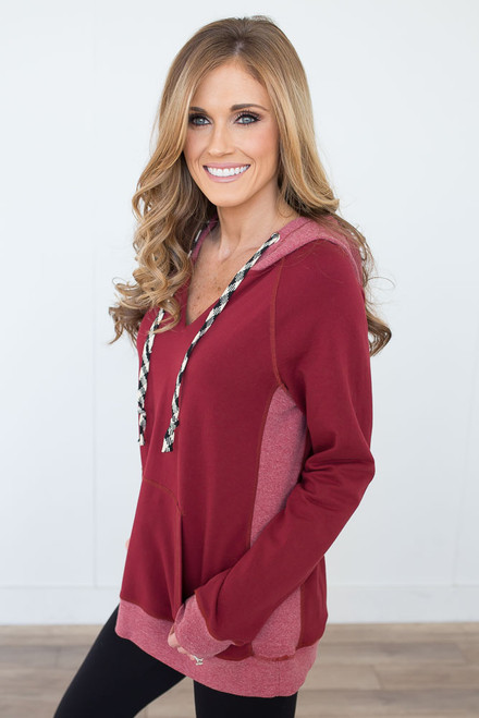 Hooded Contrast Sweatshirt - Burgundy
