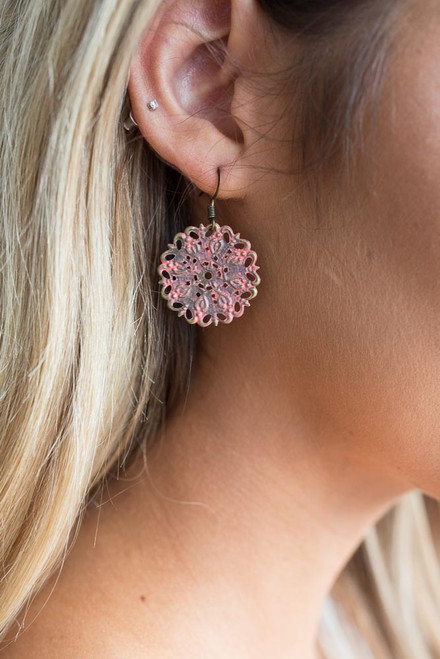 Painted Cutout Earrings - Coral - FINAL SALE