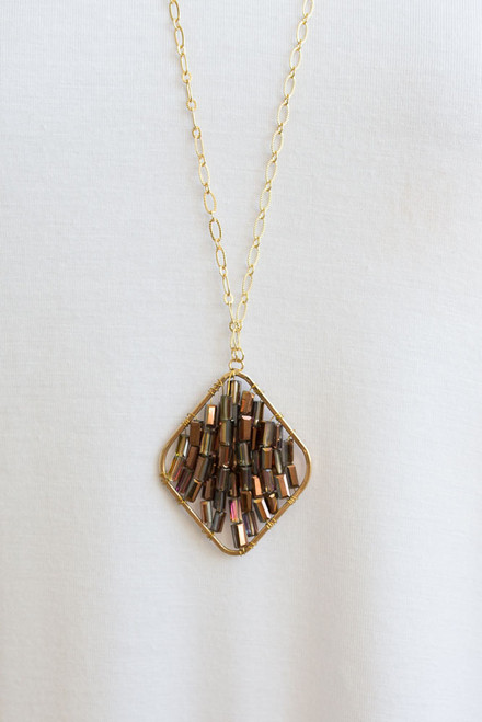 Beaded Pendant Necklace - Brown - FINAL SALE