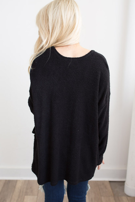 Everly Boucle Knit Cardigan - Black - FINAL SALE