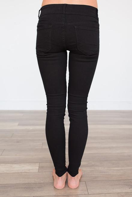 Midnight Rider Distressed Skinny Jeans - Black