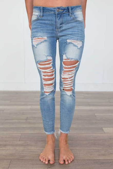 Bombshell Destroyed Skinny Jeans - Light Wash