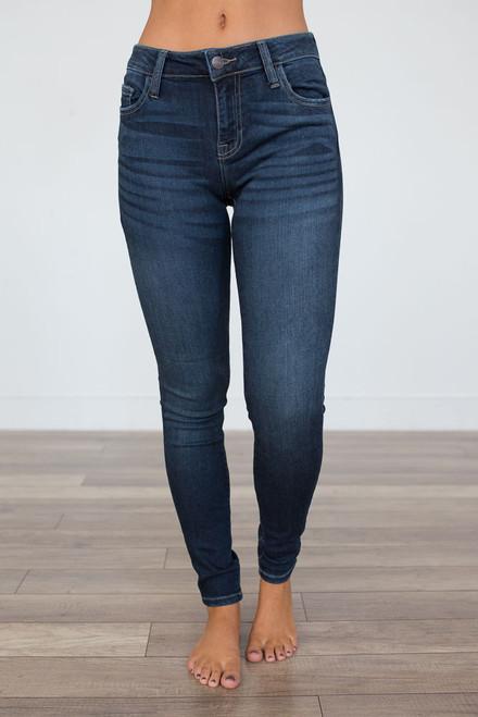 Aspen Faded Skinny Jeans - Dark Wash