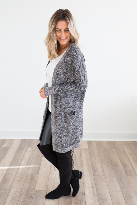 Long Pocket Cardigan - Heather Black