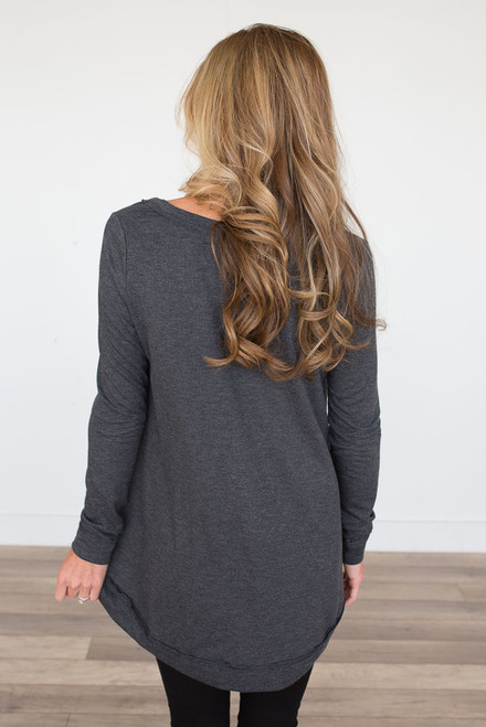 Long Sleeve High Low Tunic - Charcoal - FINAL SALE