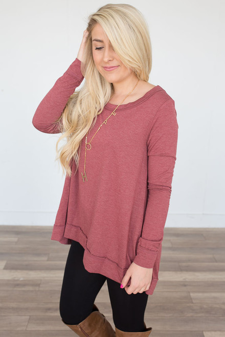 Long Sleeve High Low Tunic - Cranberry - FINAL SALE