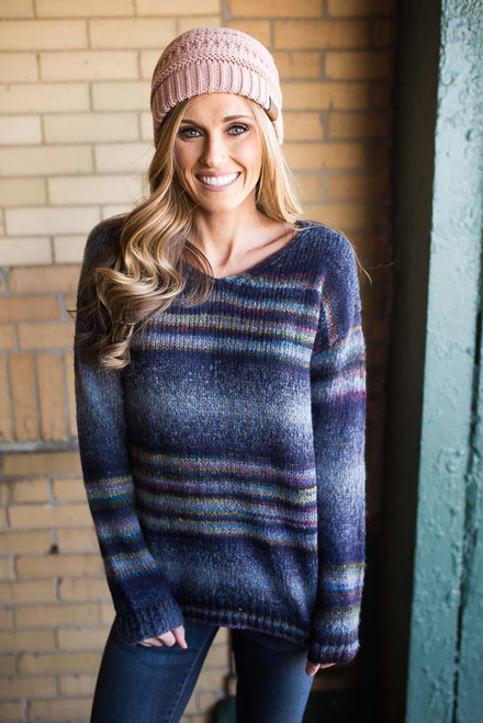 Geneva Striped Sweater - Navy Multi