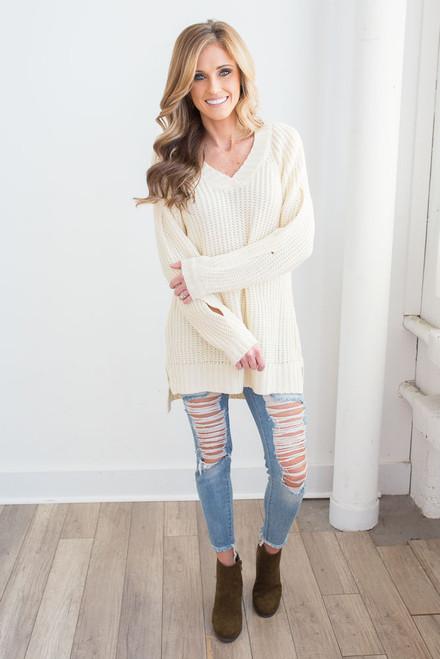 Open Sleeve V-Neck Sweater - Cream - FINAL SALE