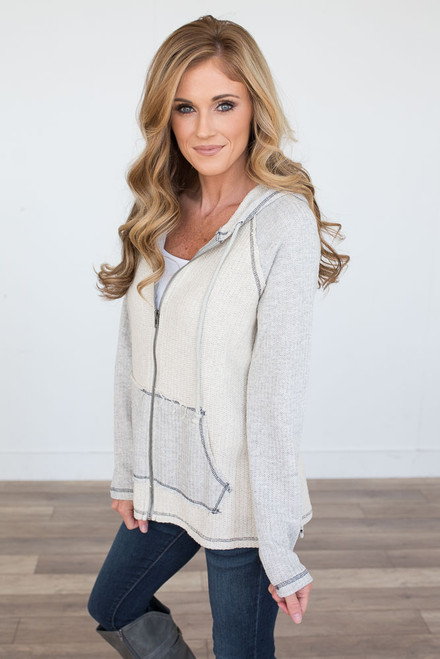 Terry Hooded Zip Up Jacket - Light Grey - FINAL SALE