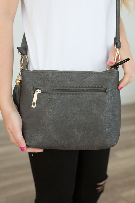 Distressed Faux Leather Crossbody - Charcoal - FINAL SALE