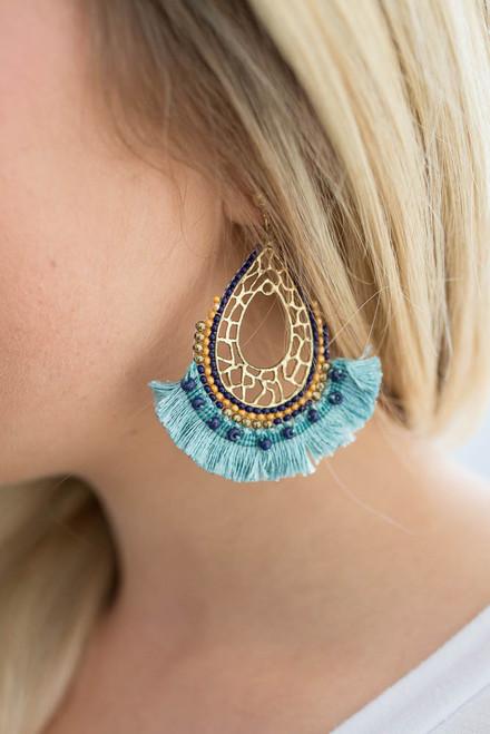 Simba Fringe Earrings - Electric Blue  - FINAL SALE