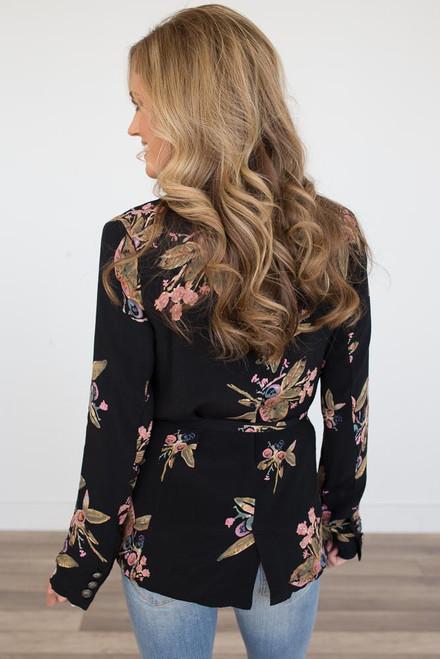 Everly Floral Print Wrap Blazer - Black - FINAL SALE