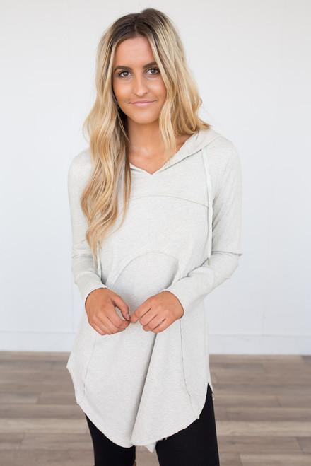Seam Detail Hooded Sweatshirt - Cream